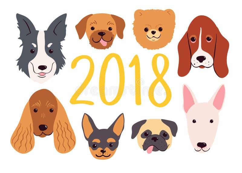 2018个新年设置的手拉的狗 看板卡日问候使母亲s向量现虹彩 向量例证