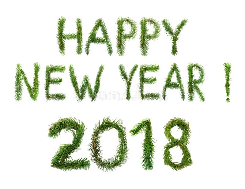 2018个新年 二千十八 Ð ¡ ongratulation措辞新年快乐用英语 对象由杉树分支做成是 库存照片