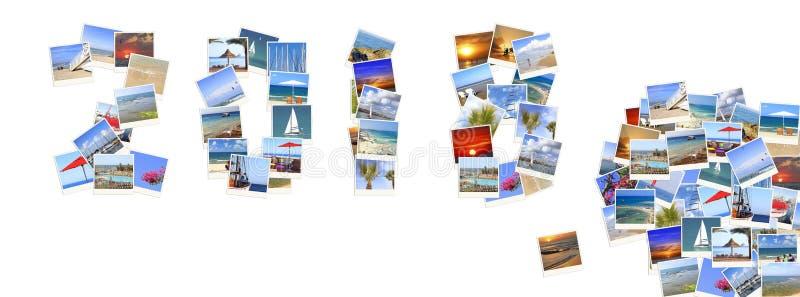 2018个新年 二千十八 数字由地中海海岸风景做成 免版税库存照片