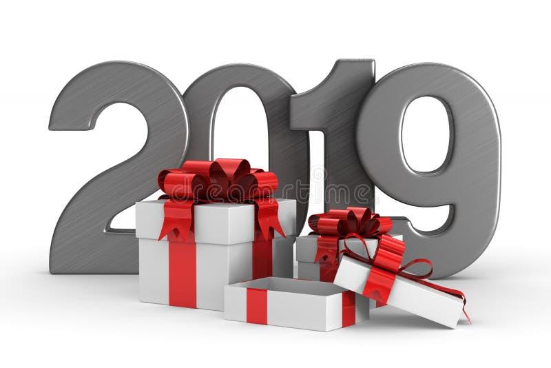 2019个新年 把礼品白色装箱 被隔绝的3d例证 库存例证