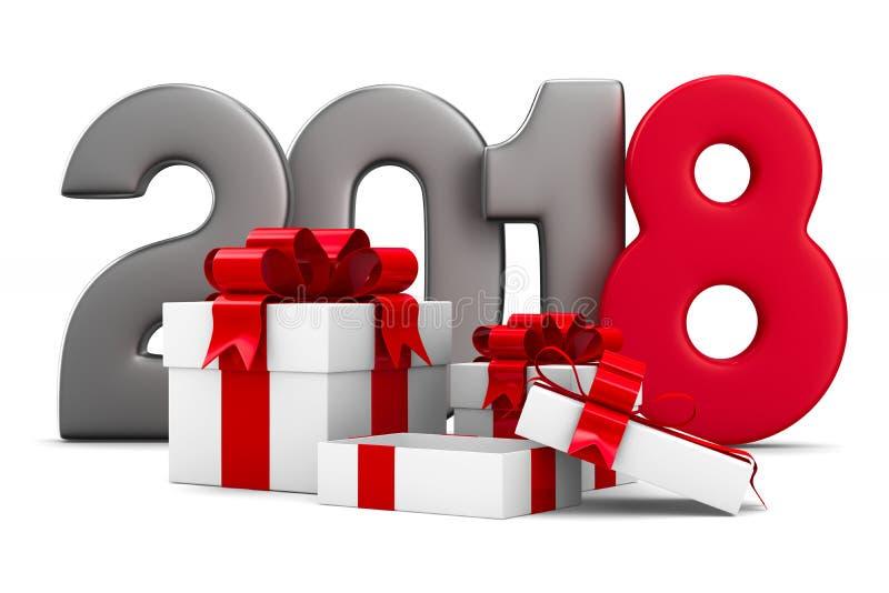 2018个新年 把礼品白色装箱 被隔绝的3d例证 皇族释放例证