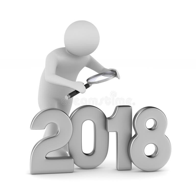2018个新年 被隔绝的3d例证 向量例证