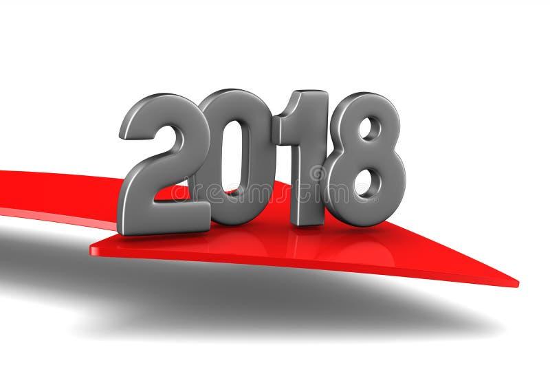 2018个新年 被隔绝的3d例证 皇族释放例证