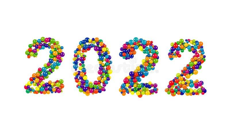 2022个新年五颜六色的球形日期设计  库存例证