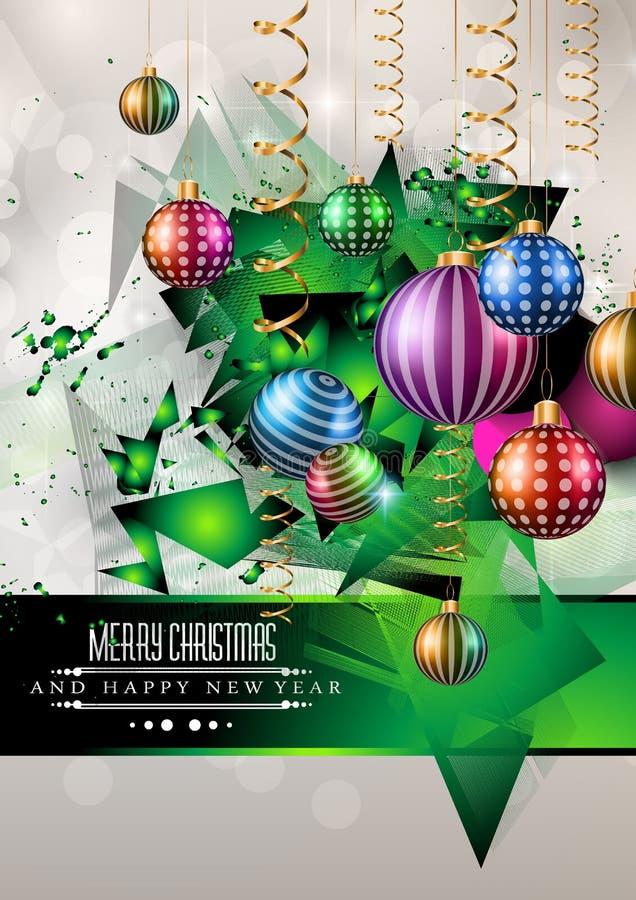 2015个新年和愉快的圣诞节背景 库存例证