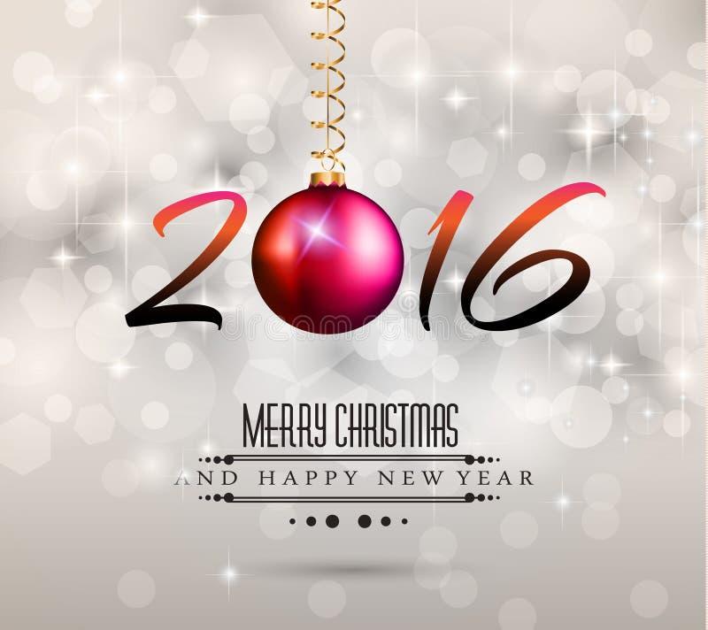 2016个新年和愉快的圣诞节背景 库存例证