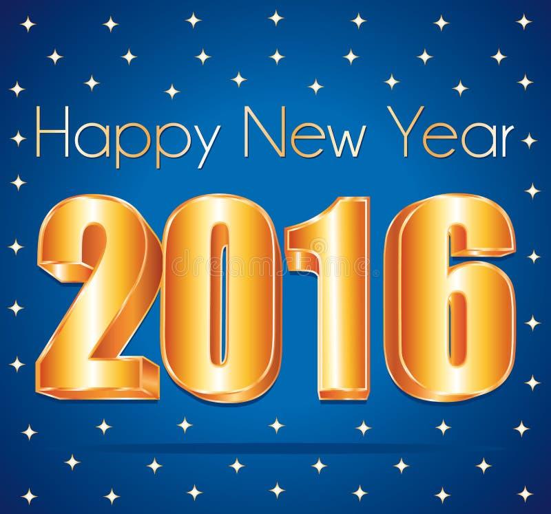 2016个新年3d金子在蓝色欢乐满天星斗的背景编号 库存例证