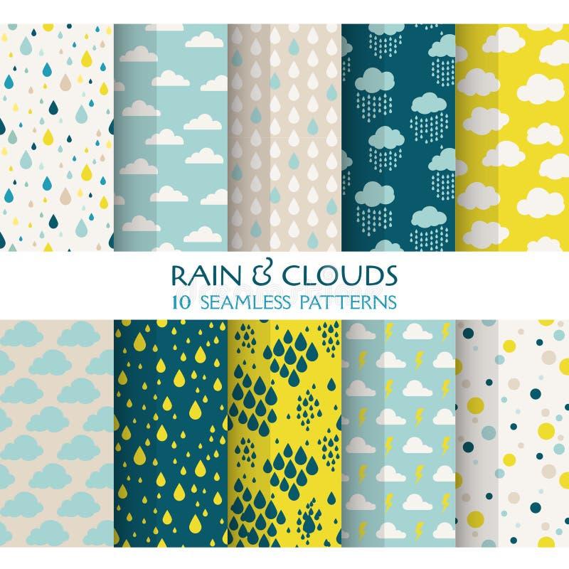 10个无缝的样式-雨和云彩 皇族释放例证