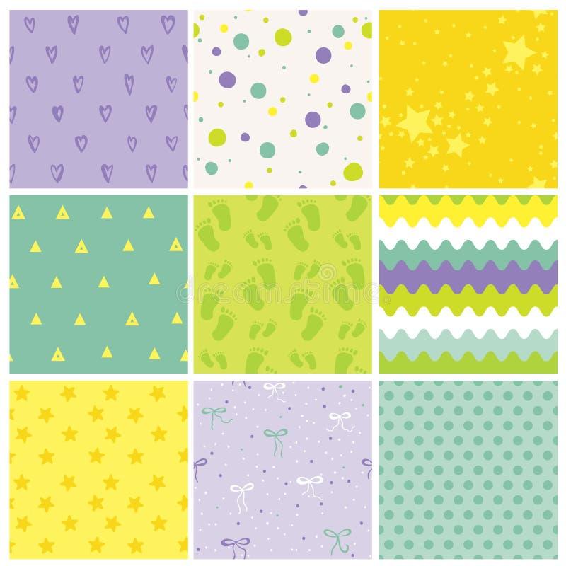 9个无缝的婴孩样式 婴孩纹理 库存例证