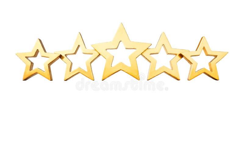 5个星隔绝了金子白色 免版税库存图片