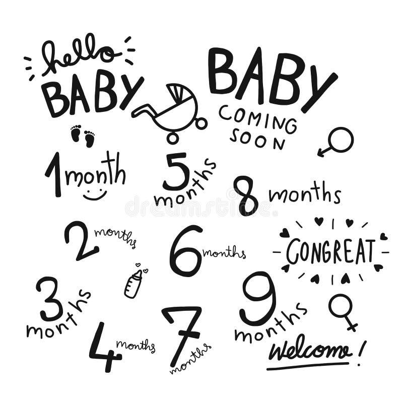 1-9个月婴孩词集合例证 库存例证