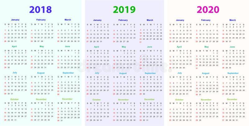 12个月日历设计2018-2019-2020. 图象, 每日.