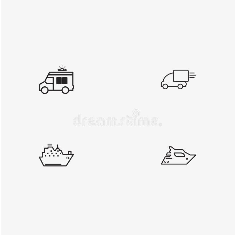 4个有用的简单的运输象集合 皇族释放例证
