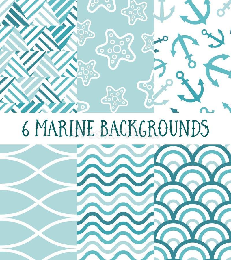 6个海洋样式的汇集 向量例证