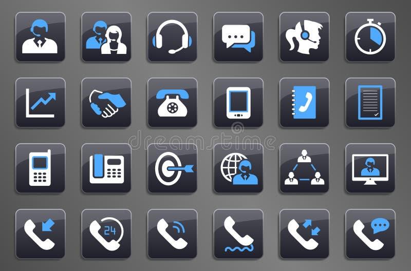 24个灰色电话中心通信按钮象 向量例证