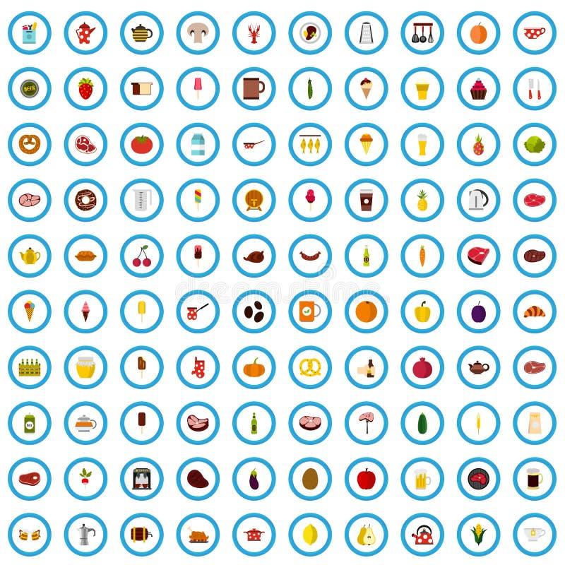 100个烹调象集合,平的样式 向量例证