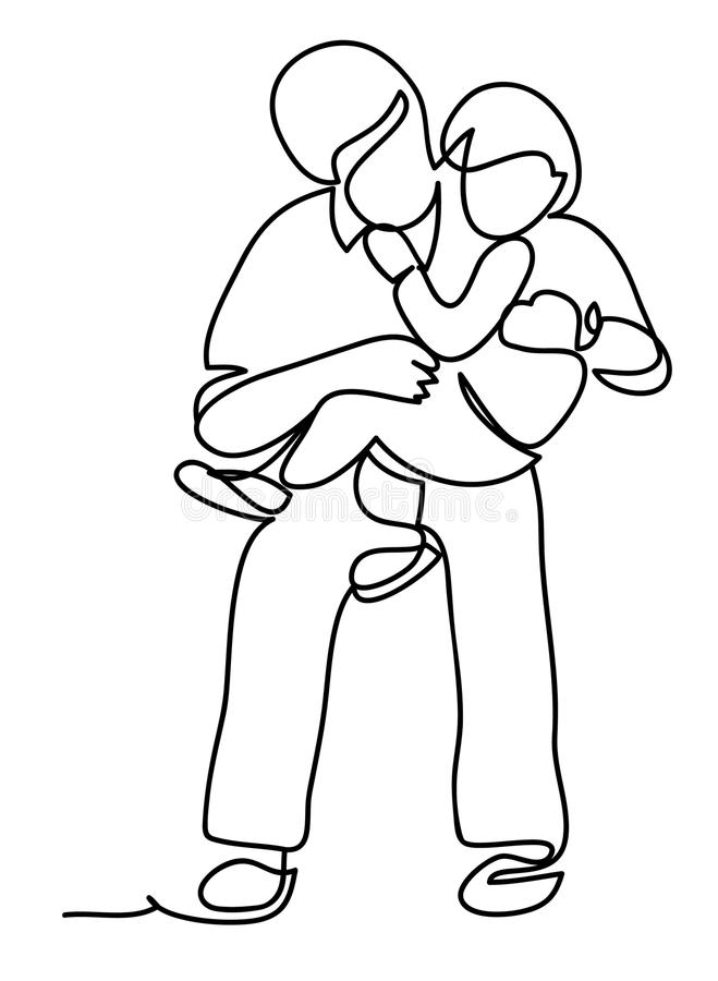 2008个父亲公园儿子春天 家庭和生活方式概念 实线图画 查出在空白背景 库存例证