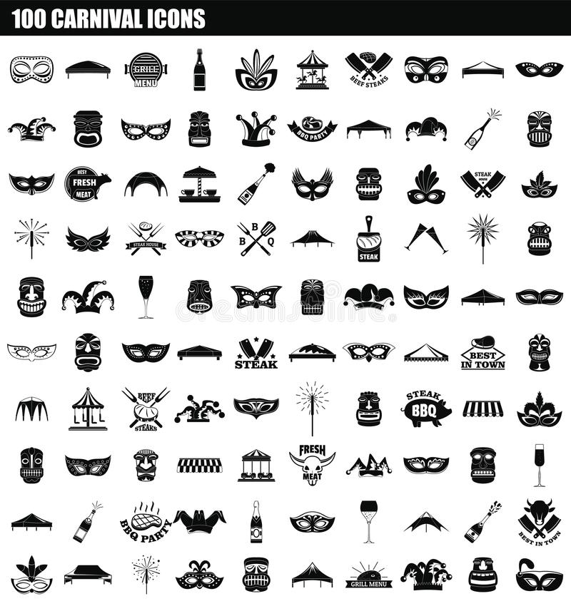 100个狂欢节象集合,简单的样式 库存例证