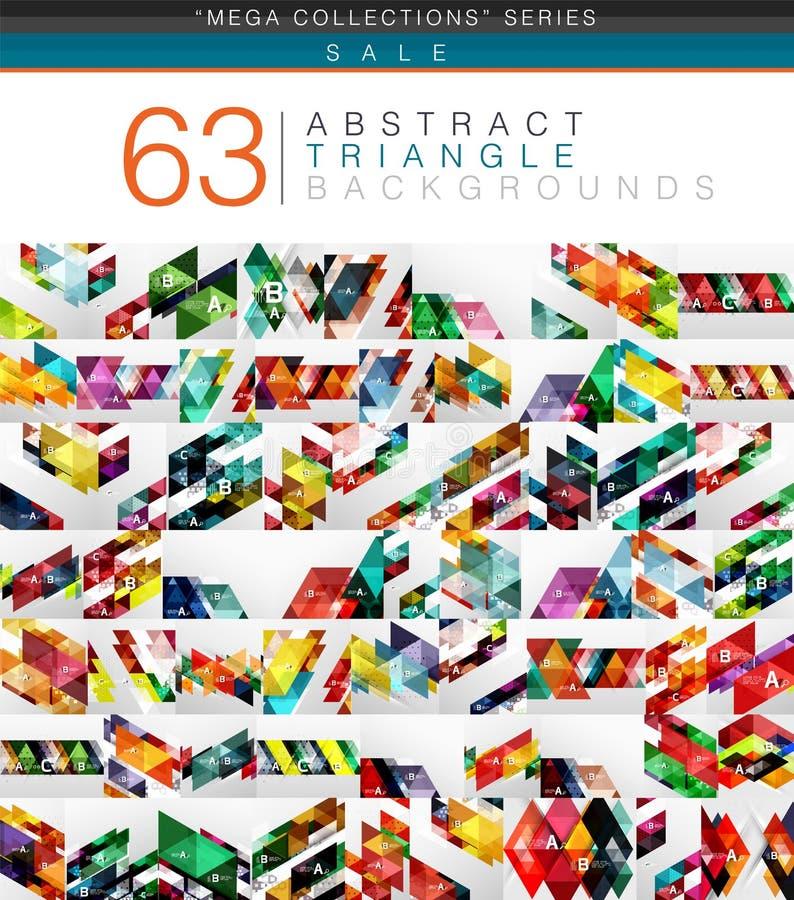 63个现代颜色三角的兆收藏提取背景 库存例证