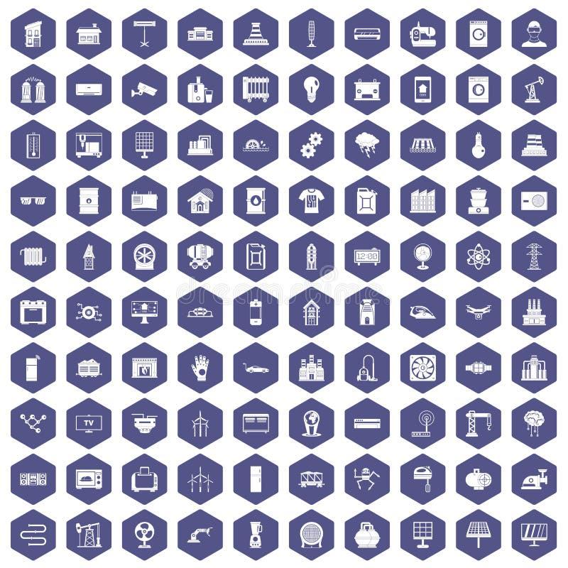 100个电机工程象六角形紫色 库存例证