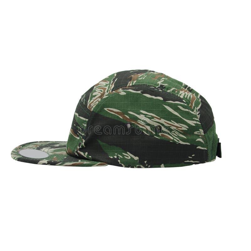 5个盘区camo骑师露营车盖帽侧视图 免版税库存照片
