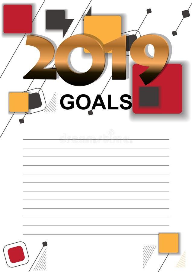 2019个目标向量图形与与记录的目标的一张名单 皇族释放例证
