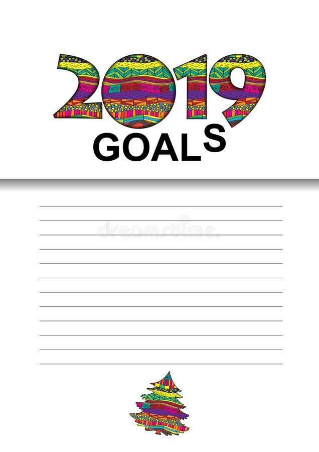 2019个目标向量图形与与记录的目标的一张名单 向量例证