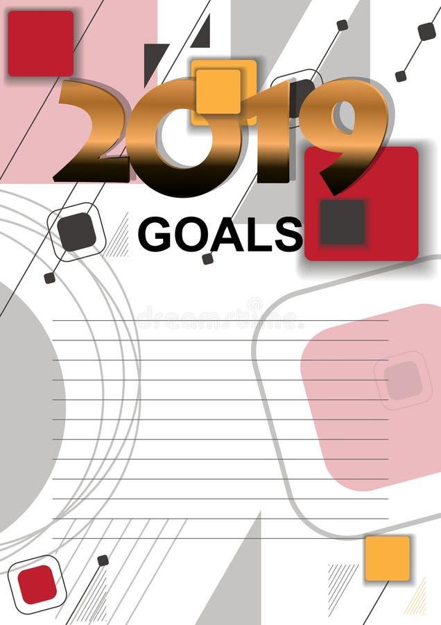 2019个目标向量图形与与记录的目标的一张名单 库存例证