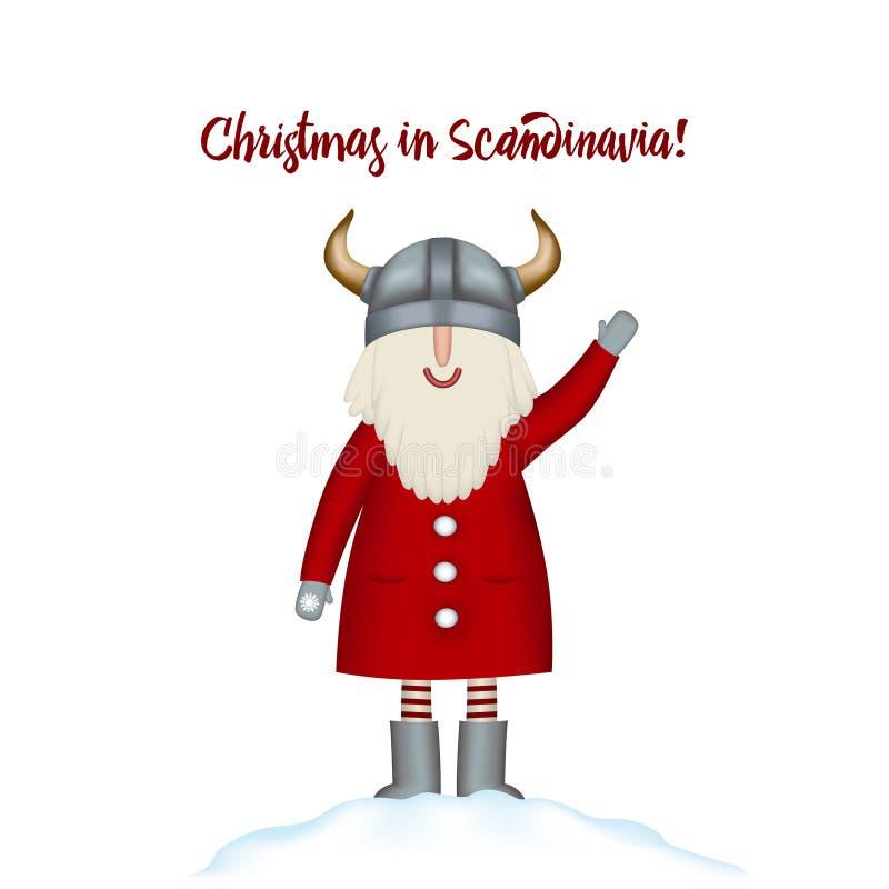 8个看板卡圣诞节eps文件包括的模板 微笑的动画片愉快的圣诞老人在随风飘飞的雪站立 库存例证