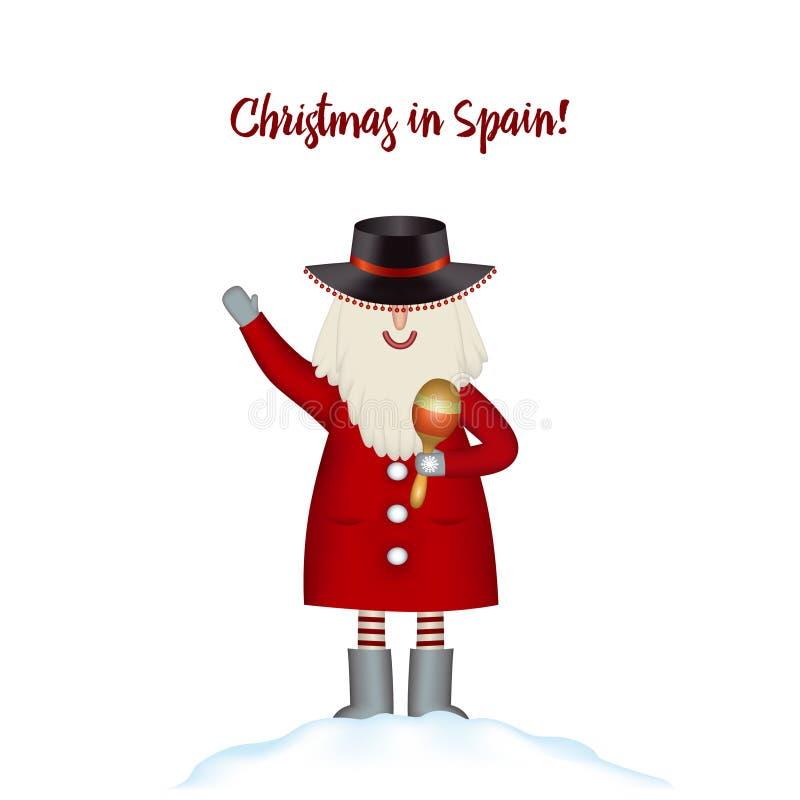 8个看板卡圣诞节eps文件包括的模板 微笑的动画片愉快的圣诞老人在随风飘飞的雪站立 向量例证