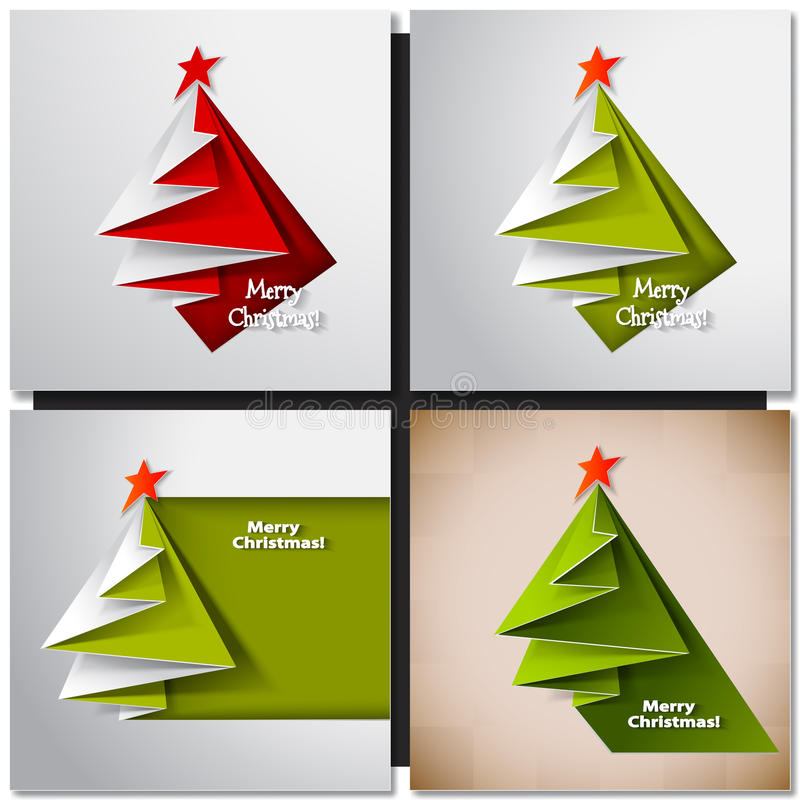 8个看板卡圣诞节eps文件包括的结构树 传染媒介origami 皇族释放例证