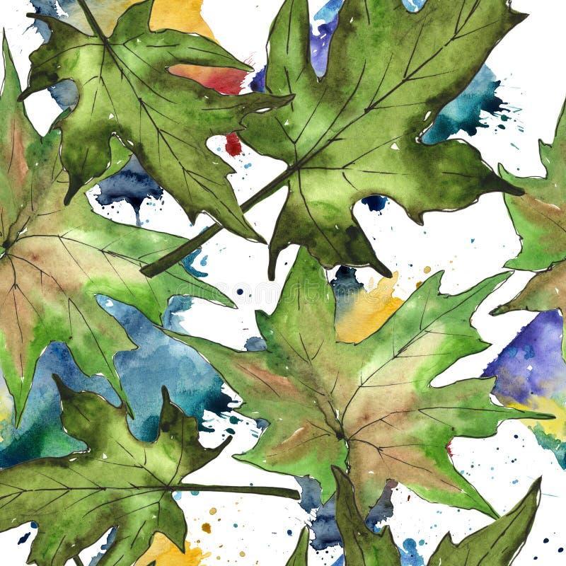 9个秋天颜色 叶子植物植物园花卉叶子 无缝的背景模式 库存例证