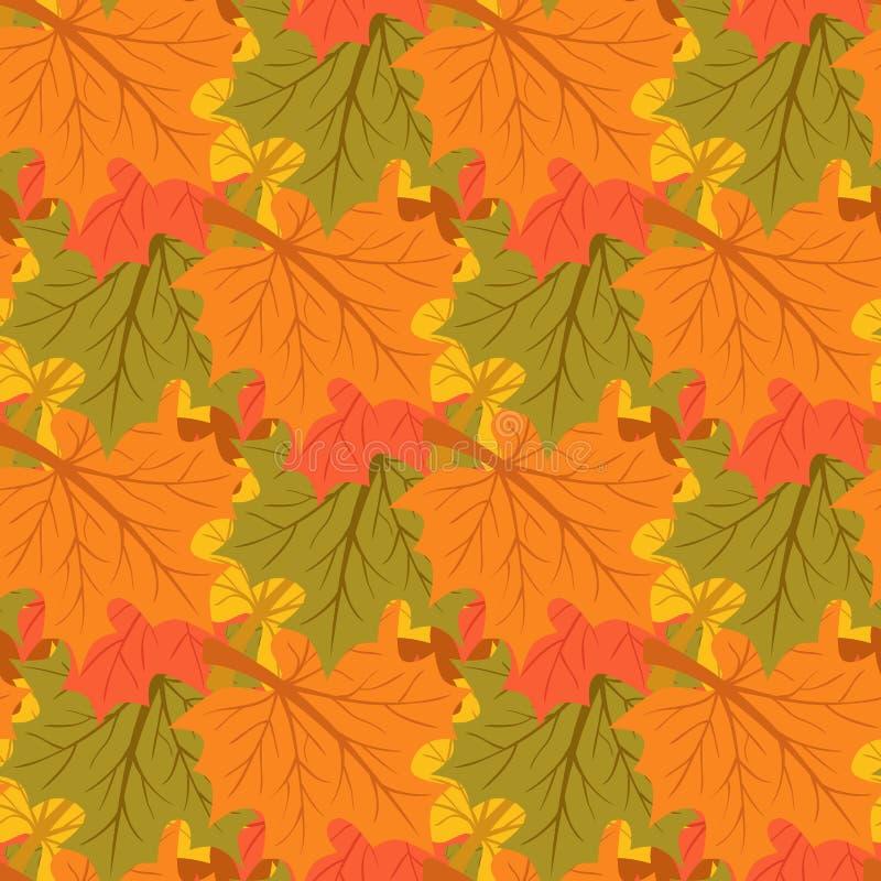 9个秋天颜色 秋天背景特写镜头上色常春藤叶子橙红 不尽的无缝的样式 库存例证