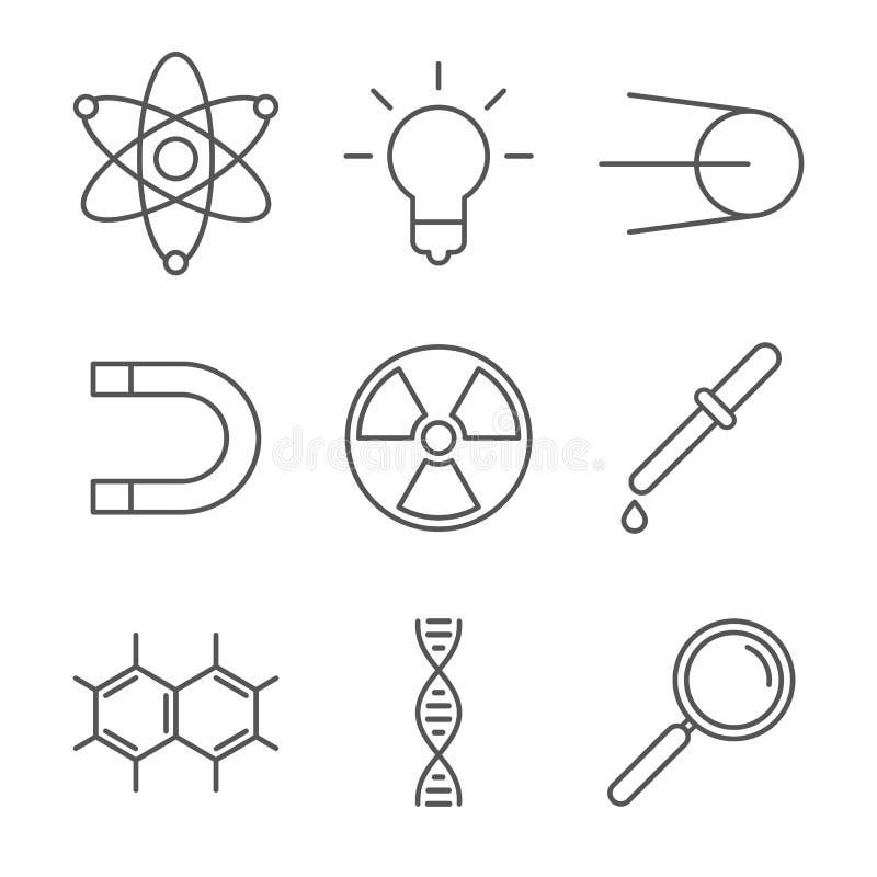 9个科学象的汇集 向量例证