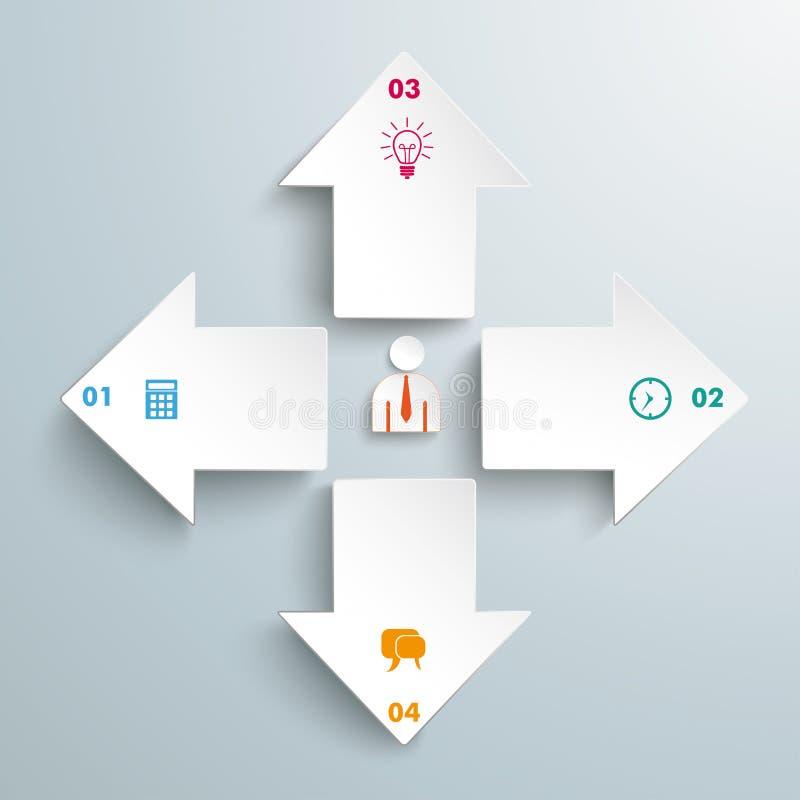 4个箭头所有方向Infographic 库存例证