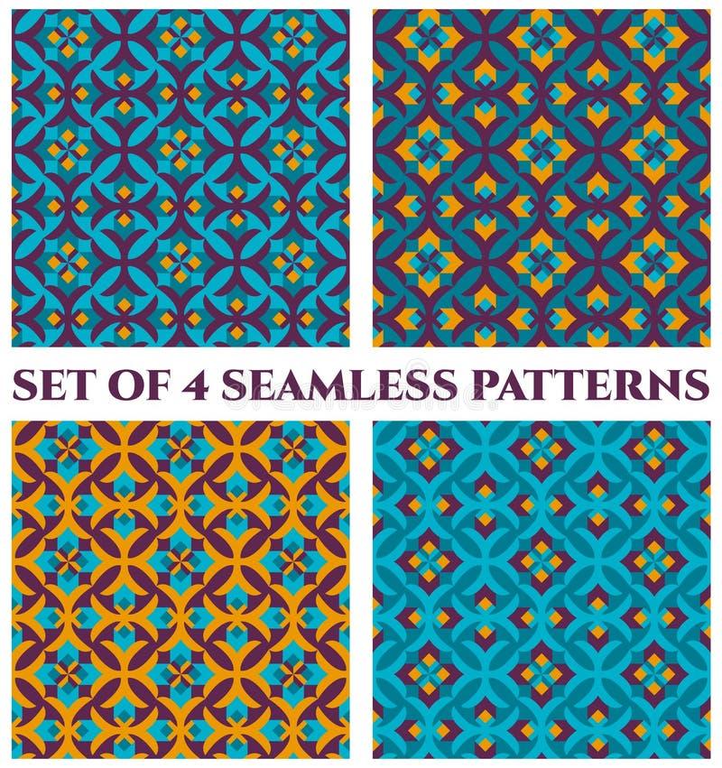 4个精美锦缎装饰无缝的样式的汇集与蓝色,小野鸭,橙色和紫罗兰色树荫的几何装饰品的 库存例证