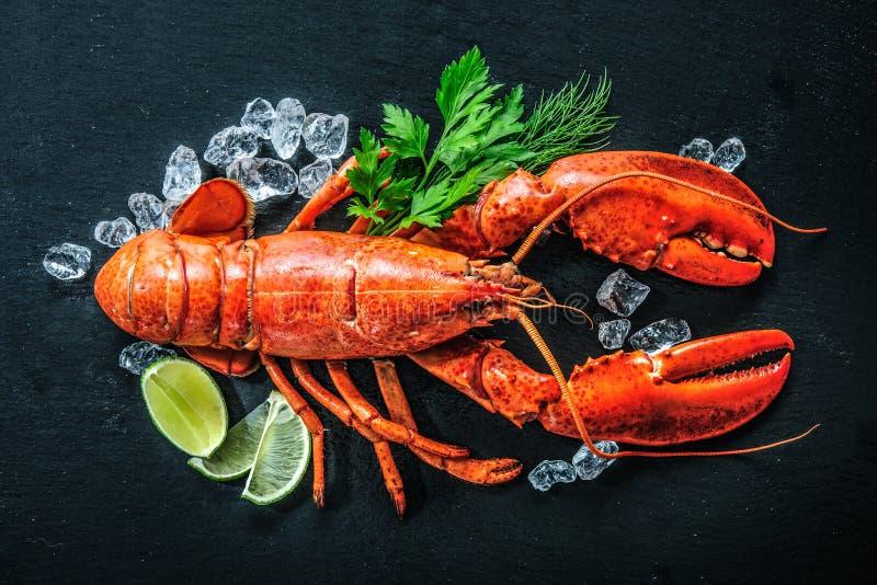 整个红色龙虾顶视图与冰和石灰的 免版税库存图片