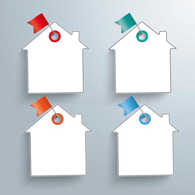 4个纸议院色的旗子别针 皇族释放例证