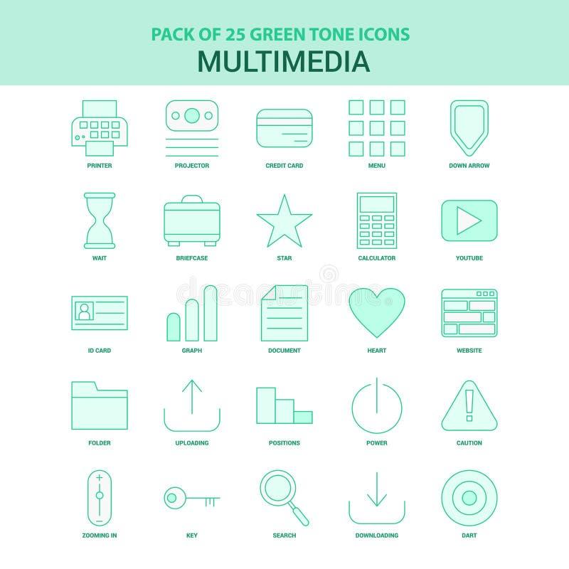 25个绿色多媒体象集合 向量例证
