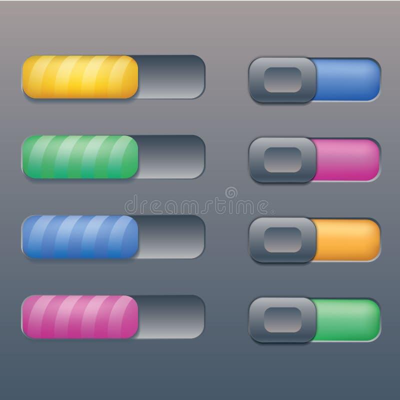 8个美丽的乒乓键按钮 皇族释放例证