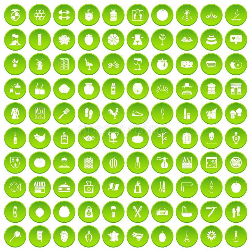 100个美容品象被设置的绿色圈子 皇族释放例证