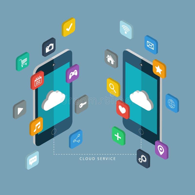 10个背景云彩概念eps梯度灰色服务向量 有apps象的手机 库存例证