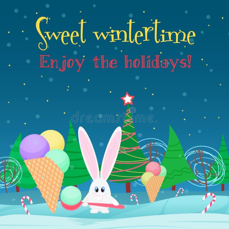 8个背景看板卡圣诞节eps文件包括的向量 兔子用冰淇凌糖果在圣诞树夜森林里 皇族释放例证
