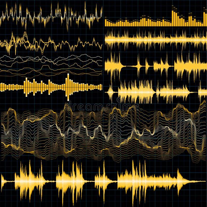 8个背景eps文件包括了音乐集合声波 背景是能使用的不同的例证音乐目的 10 eps 向量例证