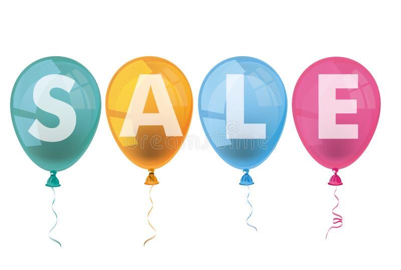 4个色的气球销售 向量例证