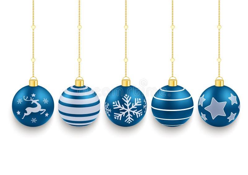 5个蓝色圣诞节中看不中用的物品白色背景 皇族释放例证