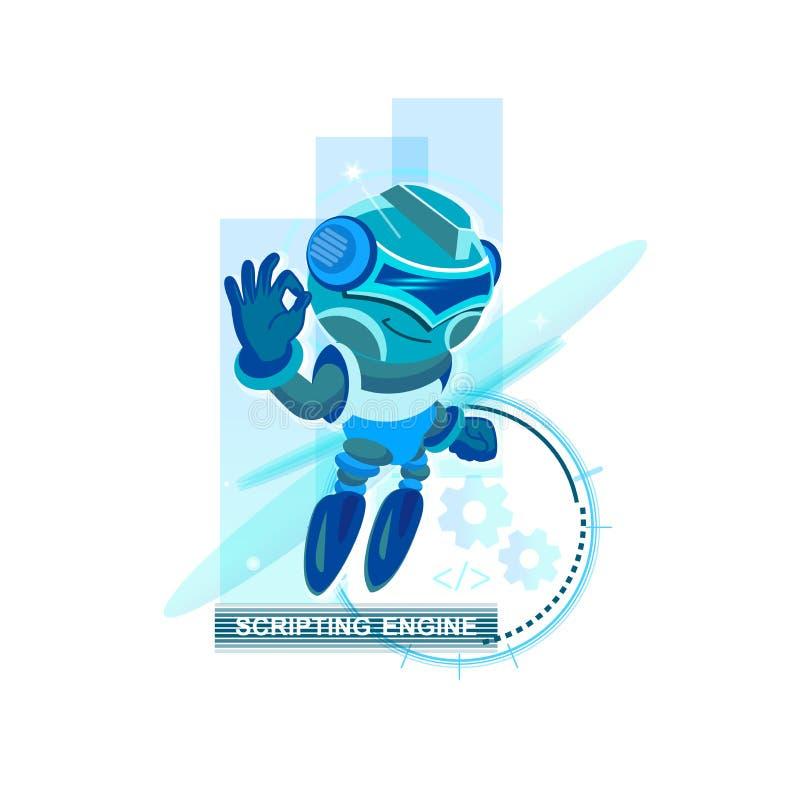 1个蓝色机器人 靠机械装置维持生命的人ai, irc,聊天箱子,引擎,网络,机器人, droid,通信的概念 库存例证