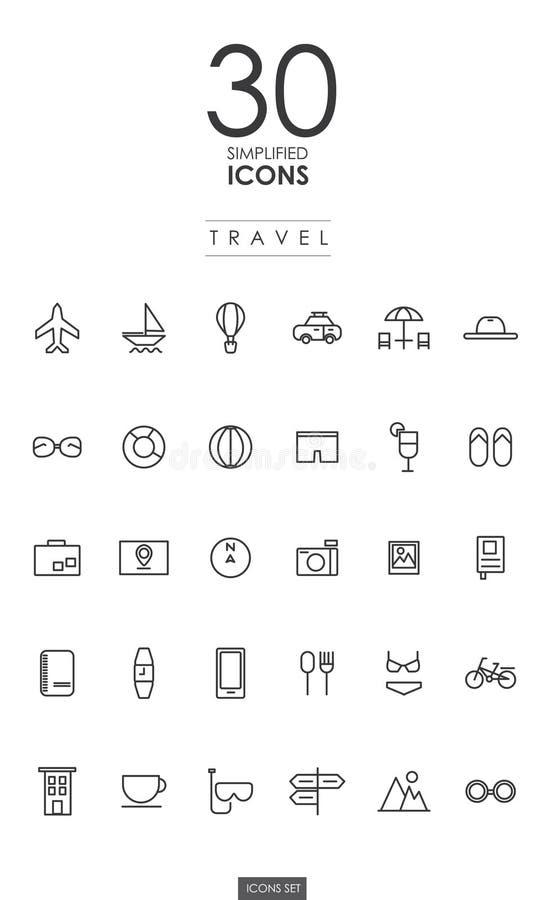 30个被简化的旅行象设计 皇族释放例证