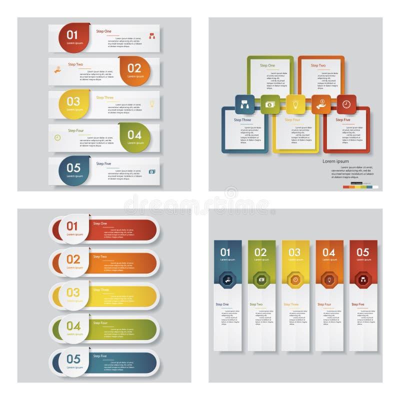 4个设计模板/图表布局的汇集 向量 皇族释放例证