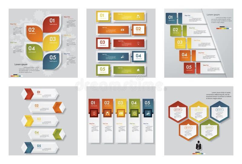 6个设计模板/图表或网站布局的汇集 向量背景 向量例证